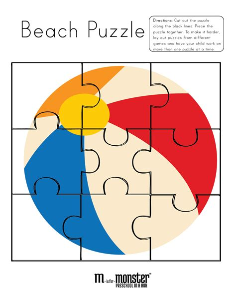 going to the puzzles free printable m is for 878 | preschool beach 01