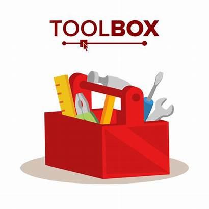 Cartoon Toolbox Equipment Vector Toolkit Classic Flat