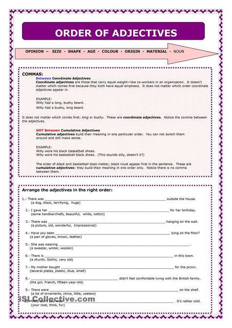 word order of adjectives certificates english