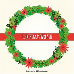 Christmas wreath with flowers Vector | Free Download