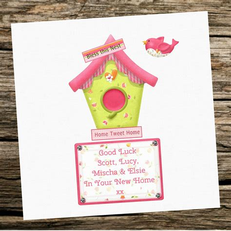 handmade  home personalised card bird house