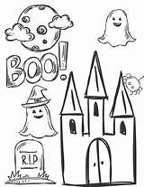 Halloween Coloring Boo Ghosts Printable Fall Printables Page3 Halloweencoloring Spooky Theme Thehousewifemodern Page2 sketch template