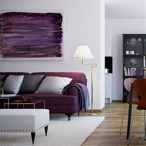 Living Room With Purple Sofa by Purple Sofa Interior Design Ideas
