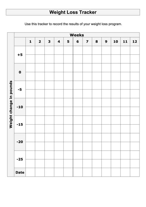 large print weight loss tracker template printable