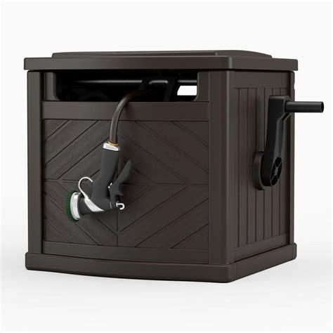 hose reel storage bin  ft garden box winding guide leader crank brown wicker  ebay