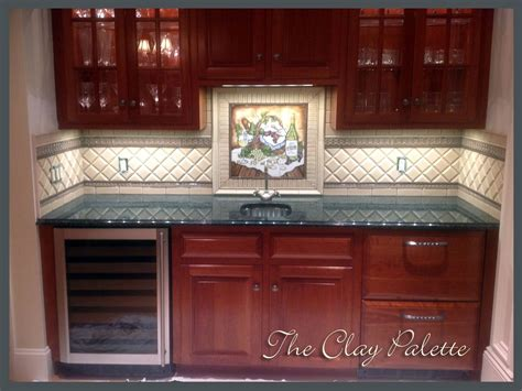 hand crafted hand painted chardonnay tile backsplash