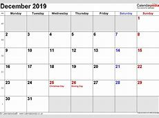 December 2019 Calendar With Holidays monthly printable