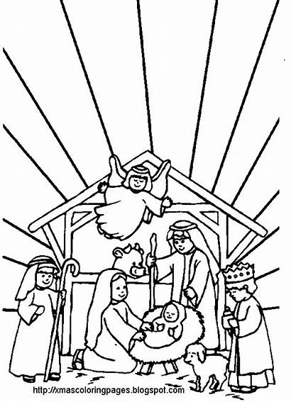 Coloring Jesus Nativity Pages Christmas Mary Joseph