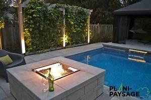 exemples de realisations d39amenagements paysagers plani With amenagement de piscine exterieur 2 realisation chute piscine creusee paysage lambert