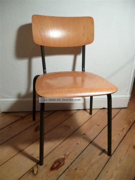 Antiker Schulstuhl, 50er, 60er, Stuhl, Antik, Holz, Metall
