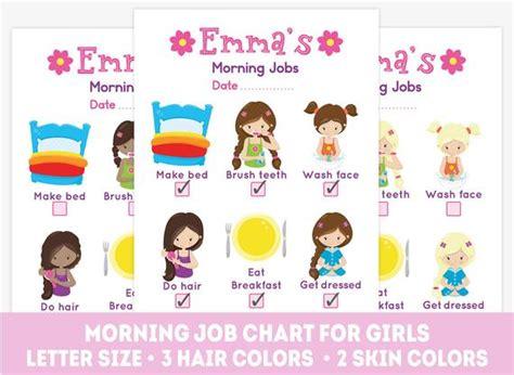 Printable Morning Job Chart Kids Chores List Daily Routine