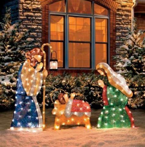 lighted outdoor nativity set 3 pc set outdoor lighted holy family nativity scene