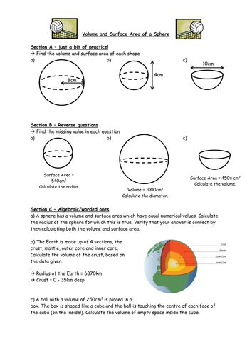 volume and surface area of a sphere by owen134866 teaching resources tes