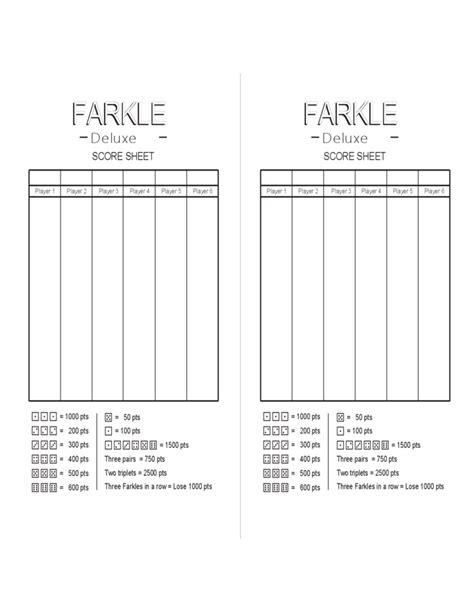farkle score sheet