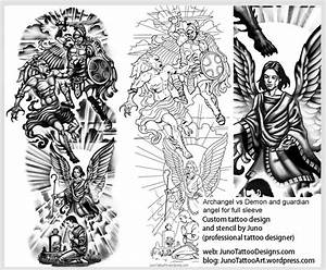 designing a tattoo sleeve template - archangel vs demon guardian angel tattoo template arm