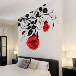 large flower roses vines vinyl wall art stickers wall decals wall graphics 3d wall decor