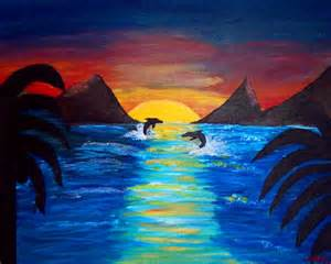 Paintings Easy Sunset with Dolphins