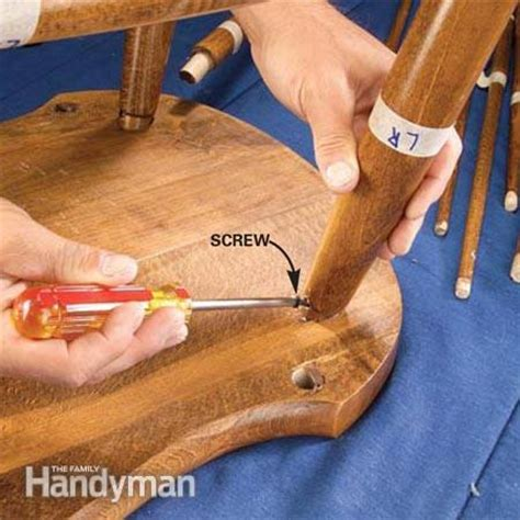 fix  wobbly chair reglue  wooden chair  family