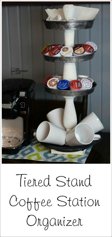 This grey coffee organizer is a dream of all caffeine lovers who like neat things. Tiered Stand Coffee Station Organizer - My Repurposed Life™