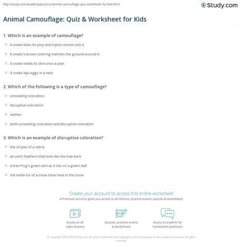 animal camouflage quiz worksheet  kids studycom