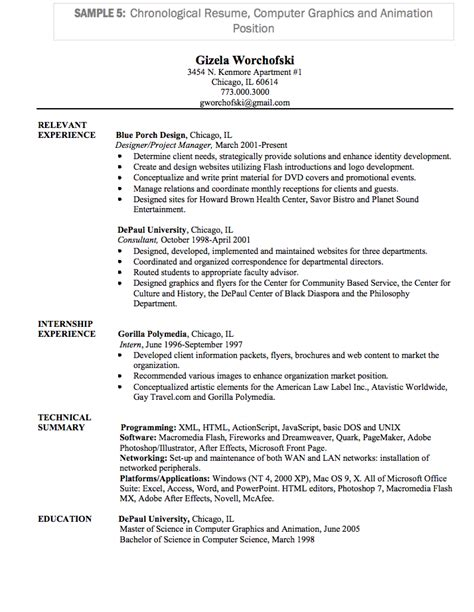 pin chronological resume exle 1 on
