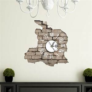 PAG STICKER 3D Wall Clock Decals Breaking Cracking Wall ...