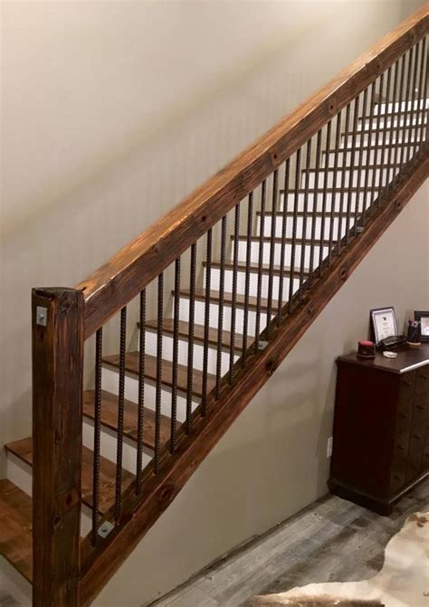 Banister Railings by Rustic Utility Pole Cross Arms Reclaimed Into Stair