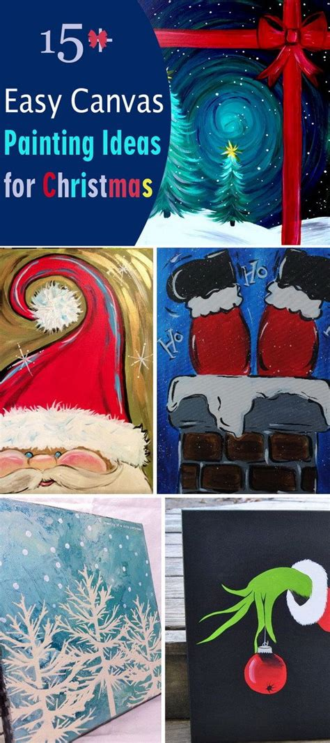 15+ Easy Canvas Painting Ideas For Christmas Painting