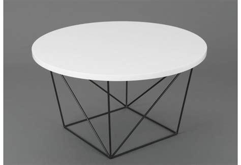 table basse ronde design moderne glossy pieds metal noir