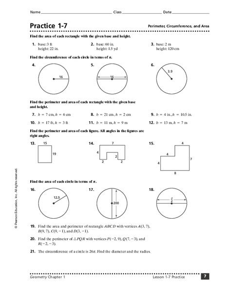 practice 1 7 perimeter circumference and area worksheet