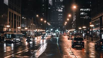 Night Street Lights Chicago Traffic Usa 1080p
