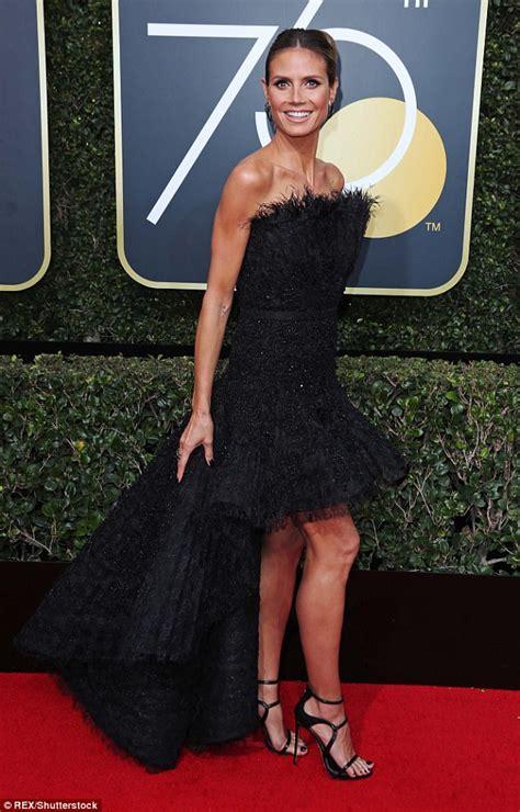 Heidi Klum Dons Black Strapless Gown The Golden Globes