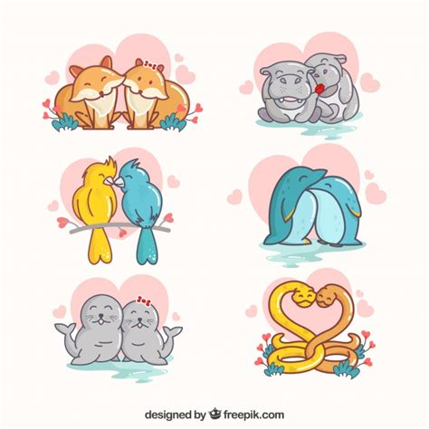 Whether animals truly have romantic feelings for each other is uncertain, but one look at these cute couples from the animal kingdom and the way they look at each other will make you a believer in. Flat valentine's day animal couples collection   Free Vector