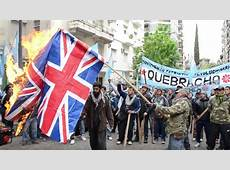 Argentines burn British flags to protest Falklands
