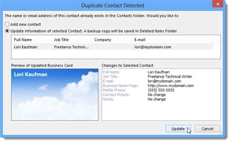 How To Apply A Business Card Template To A Contact And