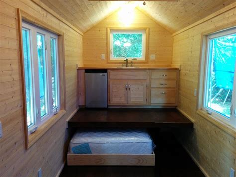 Tiny House Without A Loft. Bed On The Ground Floor.