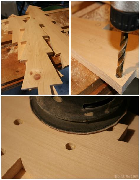 drilling holes in christmas tree wooden trees with lights rustic