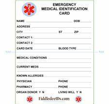 free printable medical id cards medical id wallet size With medical alert card template