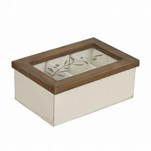 Boite à Tisane : bo te tisanes en bois et verre blanc interior 39 s ~ Teatrodelosmanantiales.com Idées de Décoration
