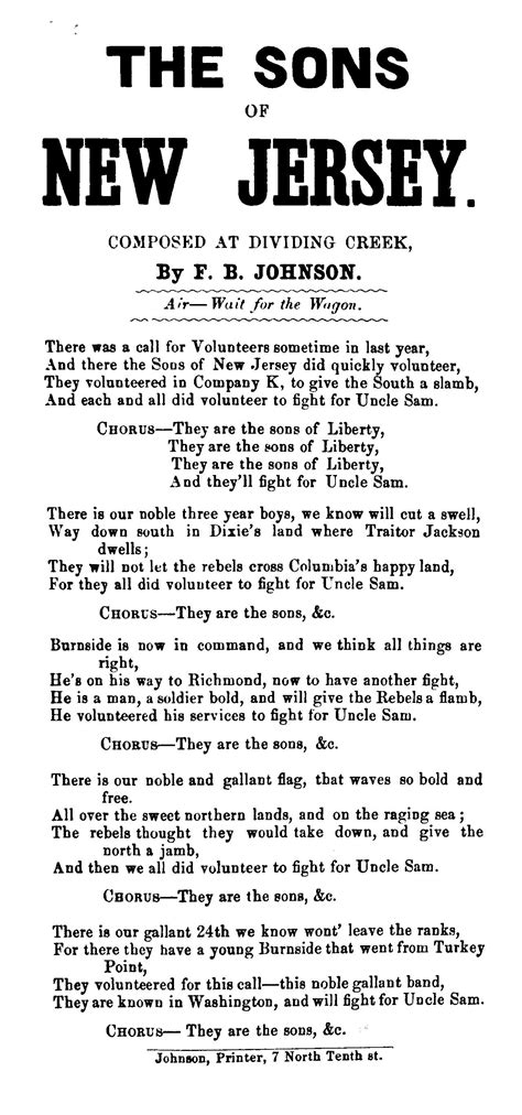 The sons of New Jersey, composed at Dividing Creek, by F