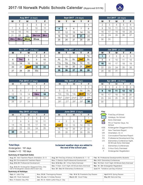 2017 2018 academic calendar template 2017 18 school calendar norwalk schools
