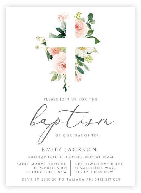 Printable Baptism or Christening Invitation Template