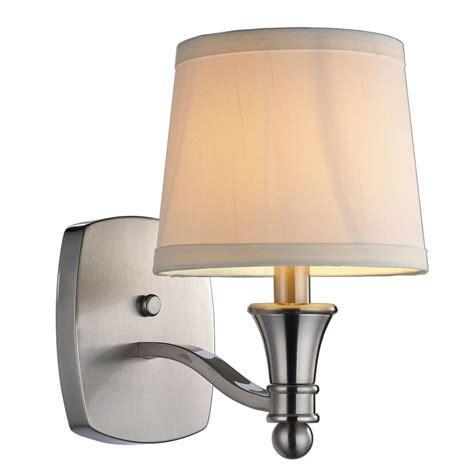 home depot bathroom sconces hton bay towne 1 light brushed nickel sconce ew1303sba