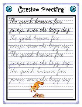 cursive practice sentence cursive writing practice