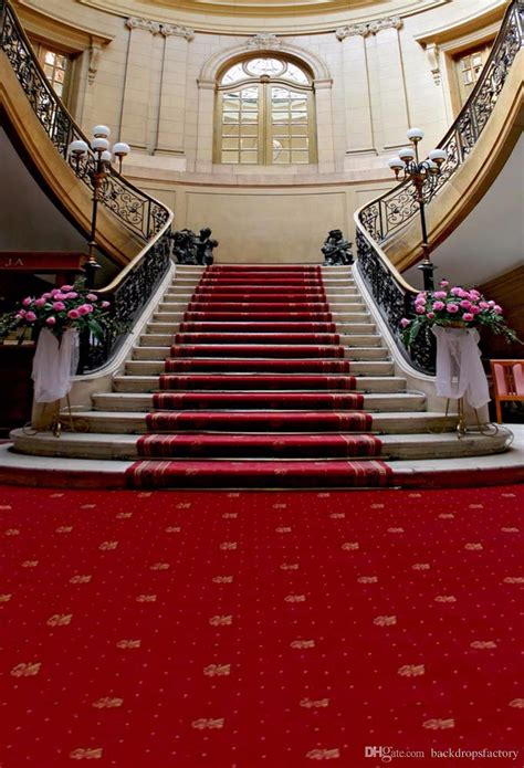red carpet staircase wedding photography backdrop