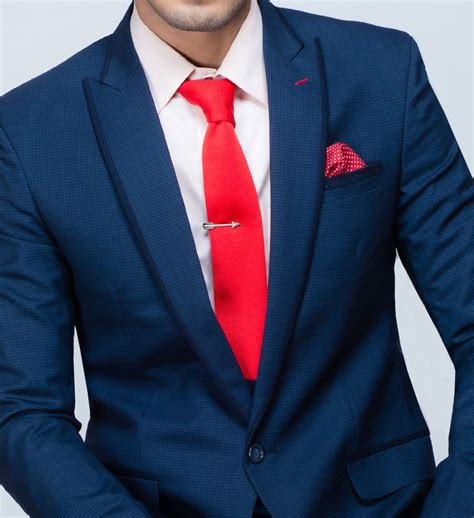Navy Blue Suit with Red Tie