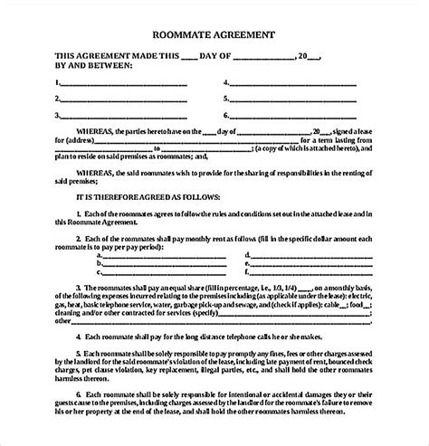 roommate contract agreement form   create