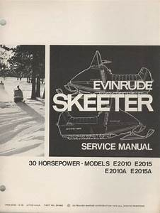 1971 Evinrude Skeeter 30 Hp Snowmobile Service Manual P  N