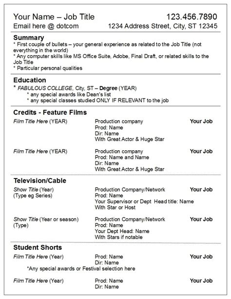 Post Resume by Divide Your Credits By Media Not Department Robyn