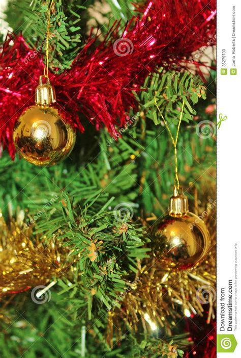 christmas decorations  tree  gold glitter  red
